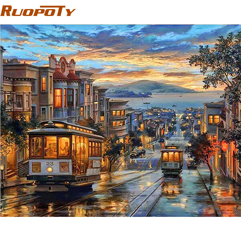 RUOPOTY Canvas Painting Frame City Numbers Wall-Artwork Night-Bus Landscape Modern Diy