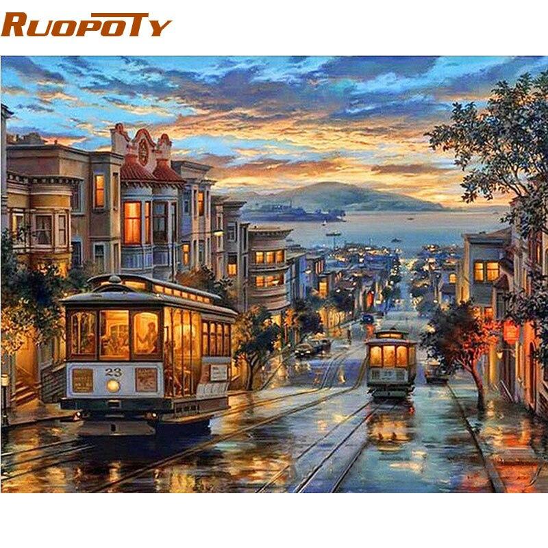 RUOPOTY Telaio City Night Bus Diy Pittura A Olio By Numbers Paesaggio Moderno di Arte Della Parete della Tela di Canapa Pittura Regalo Unico Parete Artwork