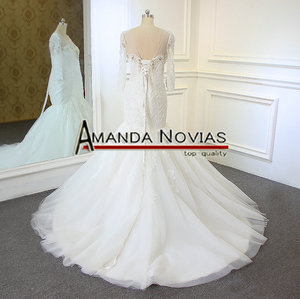 Image 3 - Новый дизайн, свадебное платье с длинным рукавом и вырезом из бисера, кружевное, Русалка, настоящее Аманда, новинка 2019
