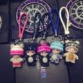 Monchhichi keychain for keys lovely doll pendant crystal key ring  leather strap luxury gift bag charm key chain m23