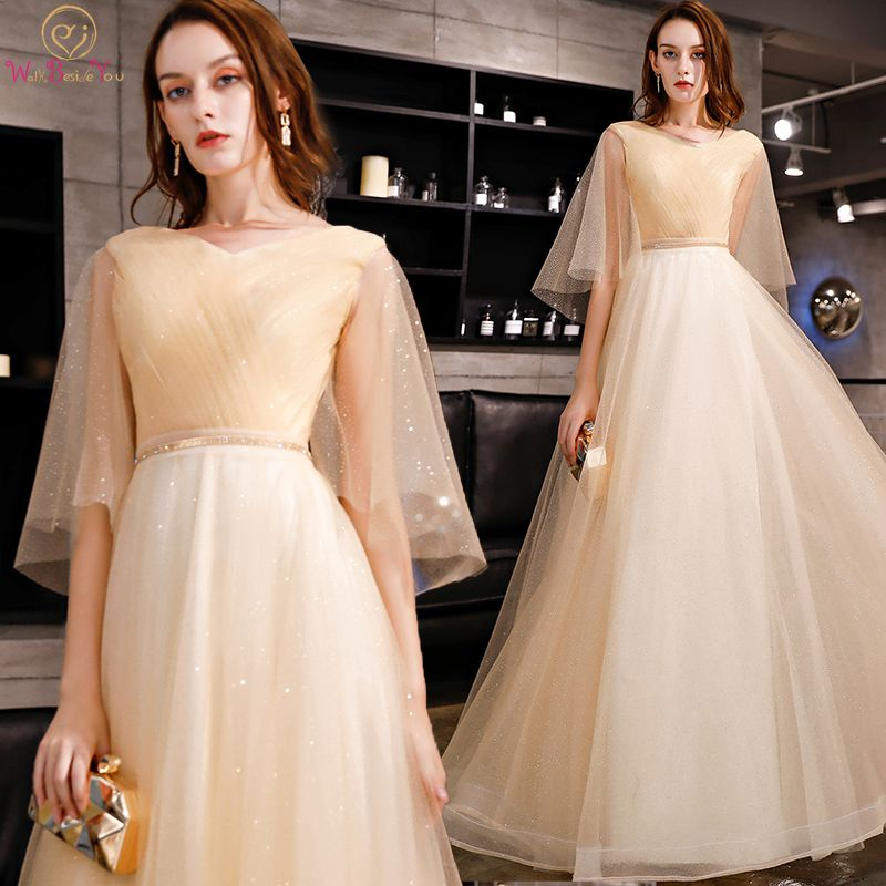 Walk Beside You Bling   Prom     Dresses   2019 Champagne V-neck Short Sleeve A-line Crystal Tulle Long Floor Length Evening Gowns Party