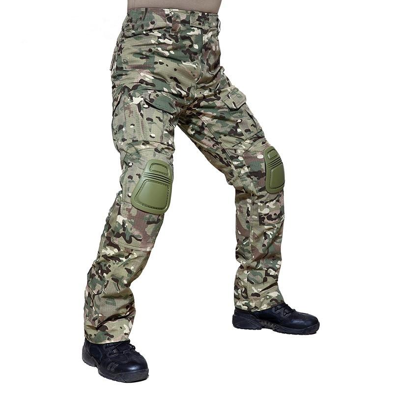 Z ochraniaczami na kolana męskie szkolenie wojskowe kamuflaż militarne spodnie wiosna jesień mężczyzna na zewnątrz piesze wycieczki polowanie CS taktyczne długie spodnie w Spodnie turystyczne od Sport i rozrywka na AliExpress - 11.11_Double 11Singles' Day 1