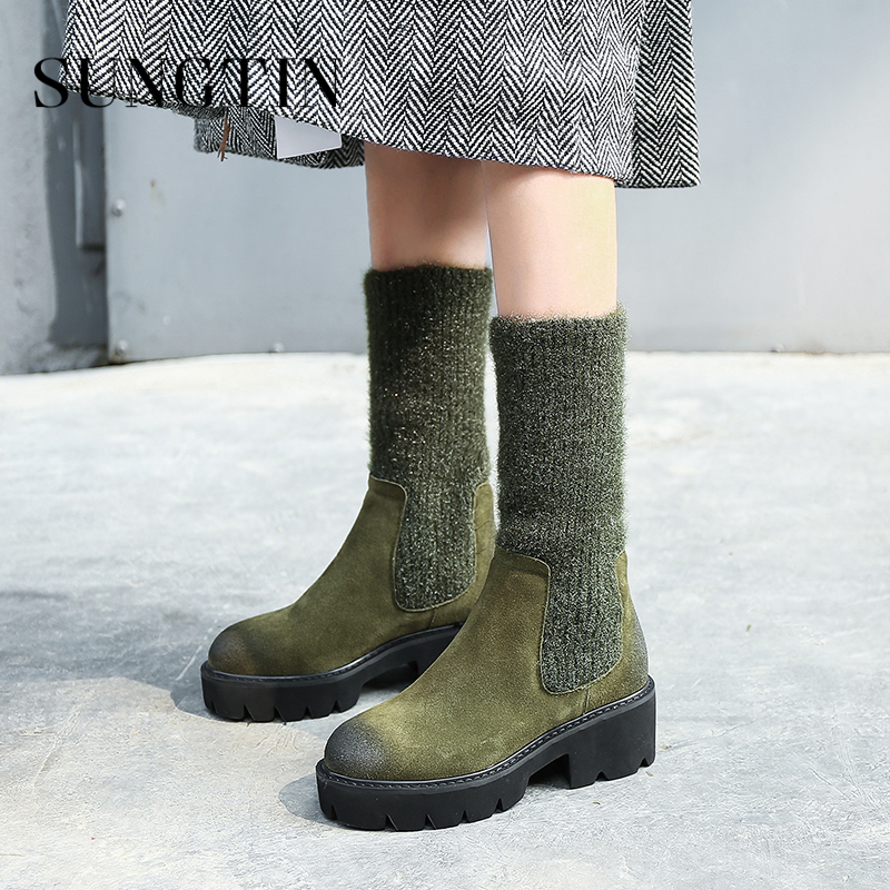 Sungtin Autumn Winter Suede Plush Warm Knitted Stretch Short Boots Women Platform Ankle Boots Casual Riding Boots Ladies Booties цена 2017