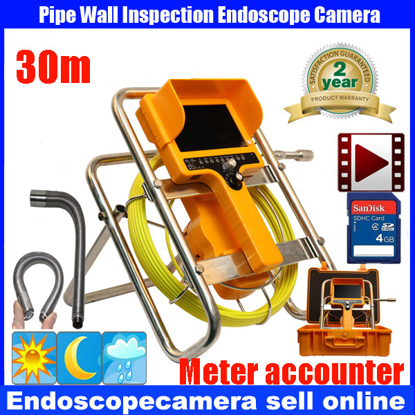 20m/30m Pipe Sewer Drain Video Inspection  Camera 7 inches Monitor   90 degree snake type Borescope  meter counter DVR Camera 7 tft sewer pipe inspection snake video camera 600tvl 12 led 30m osd regulation stainless steel lens pipeline drain w2022