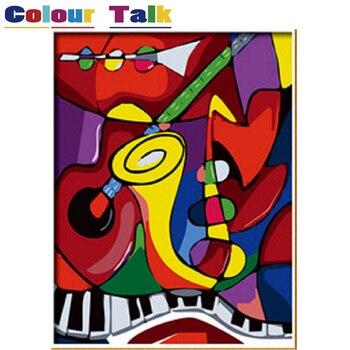 Pintura de caligrafía pintura por números fotos DIY carteles pinturas para sala de estar música abstracta por Claude Monet P-0014
