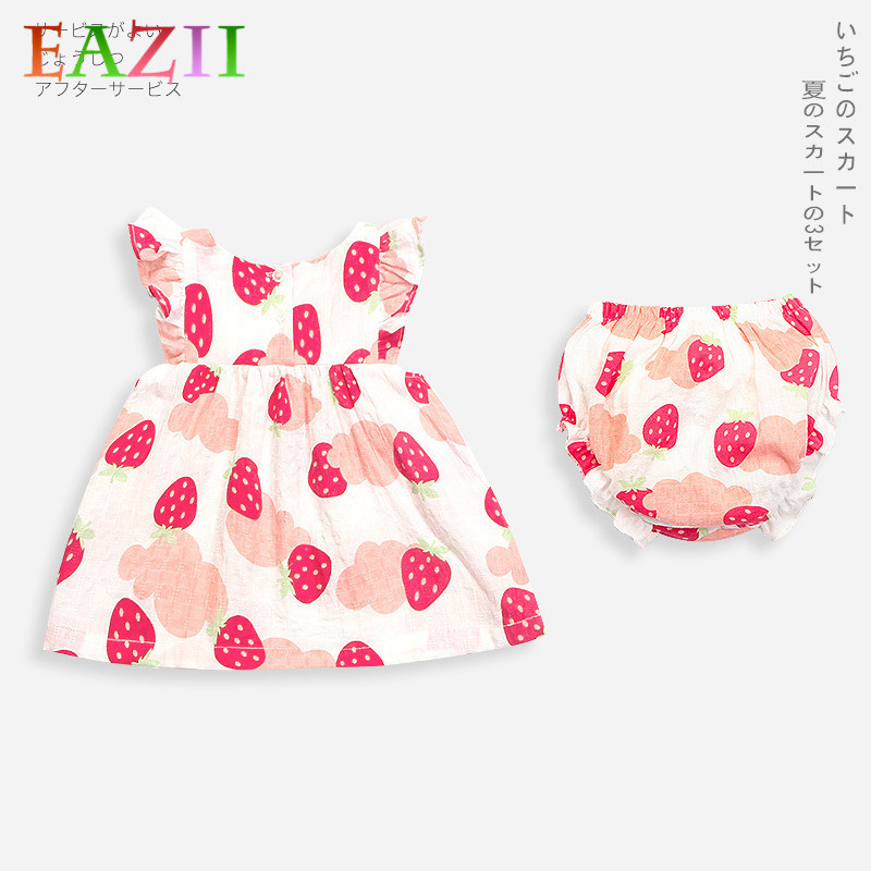 EAZII Summer Baby Kids Girls Dresses 0-3Yrs Kids Print Sleeveless Dresses Costumes With Underwear Princess Dress and Headband
