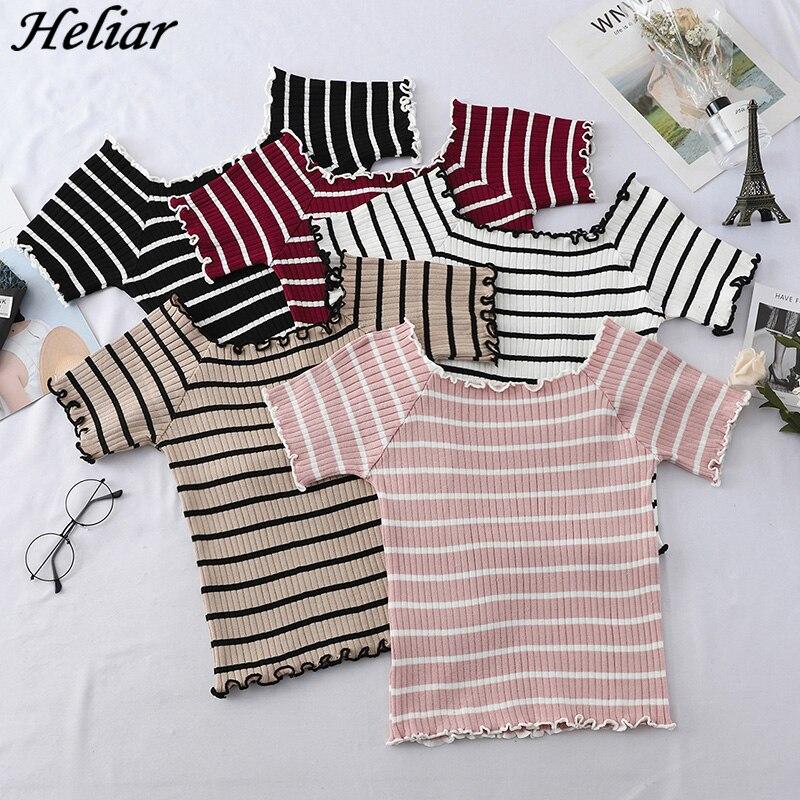 HELIAR 2019 Summer Women T-shirt O-Neck Knitting Striped T-shirt Lady's Pure Cotton Ladies T-shirt Women Tshirt Short Sleeve