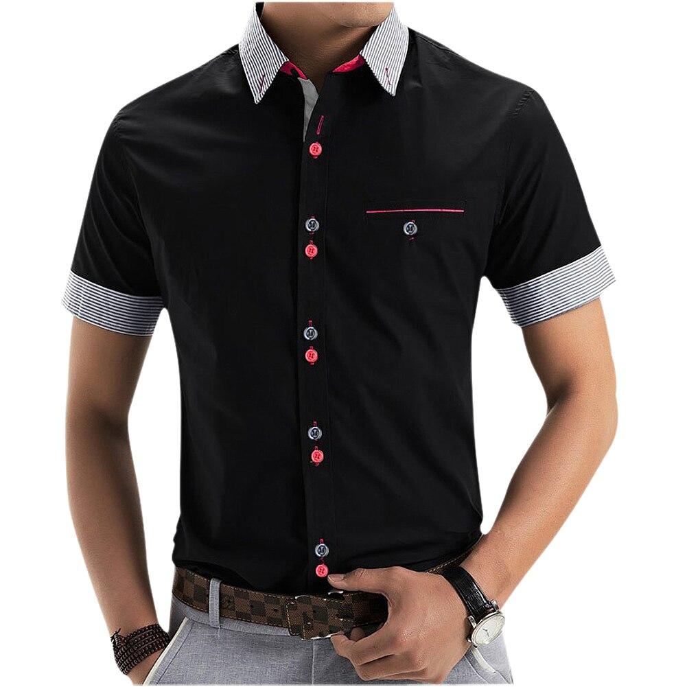 Новый бренд Для мужчин s Мужская классическая рубашка короткий рукав Повседневная рубашка Для мужчин Slim Fit Марка Дизайн официальная рубашка...