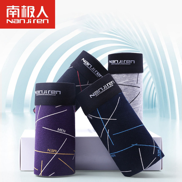 4pcs/set Mens Boxer Shorts Underwear Cotton Male Sexy Geometric Cuecas Boxers Hombre Men Masculina Elastic Underpants