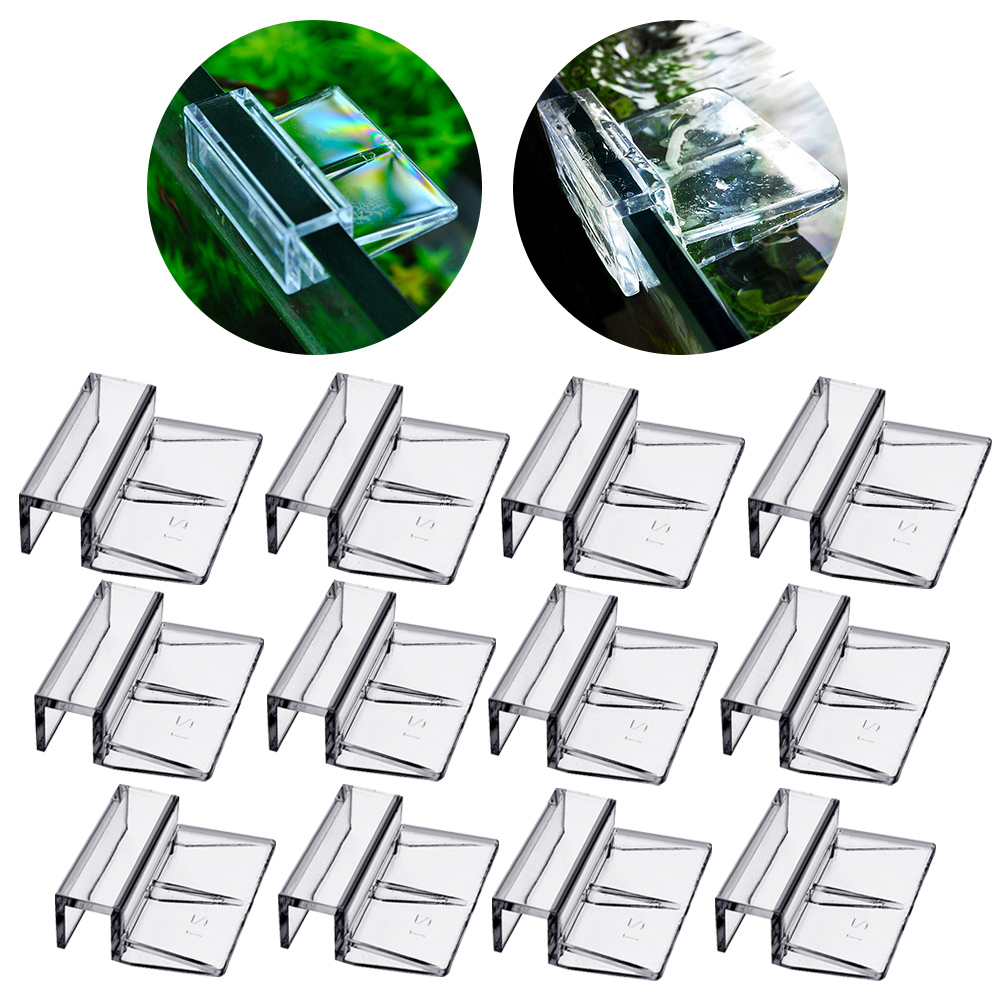 4pcs Clear Color Acrylic Aquarium Lid Clips Clamps Glass Cover Support Holders Fish Tank Supplies