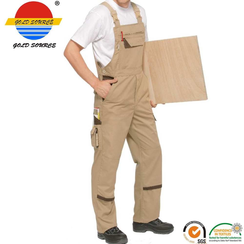Hot Sale Fashion Work Brace Pants Khaki White Mens Workwear Bib Overalls