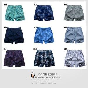 Image 5 - Herren Unterwäsche Boxer Shorts Casual Baumwolle Schlaf Unterhose Packag Hohe Qualität Plaid Lose Komfortable Homewear Gestreiften Höschen