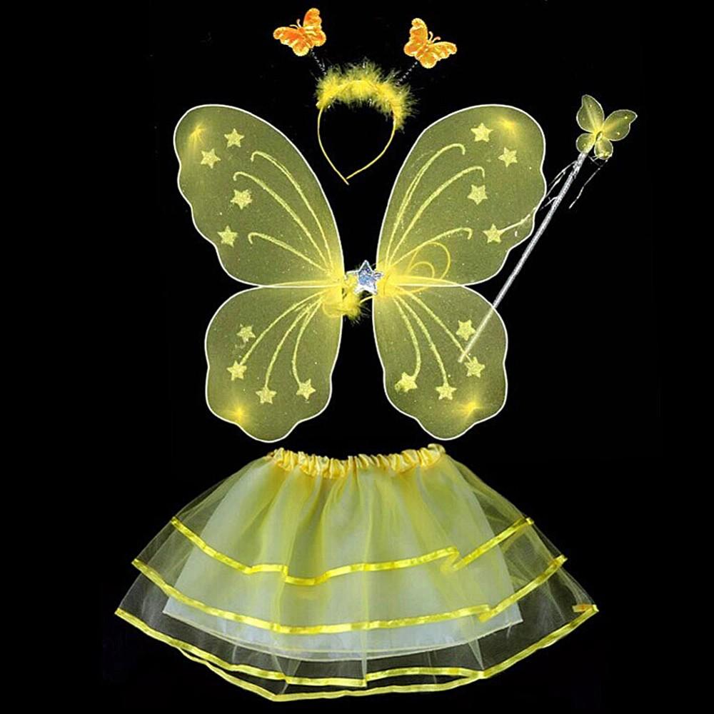 17 4 Pcs Baby Child Kids Butterfly Wings Wand Headband Tutu Skirt Halloween Costume 5