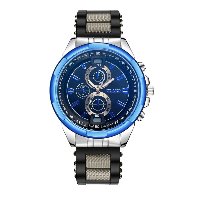 New Fashioon Women Men Business Blue Three Circular Big Quartz Watch Casual Party Office Boys Ladies Silica Gel Watches Jewelry