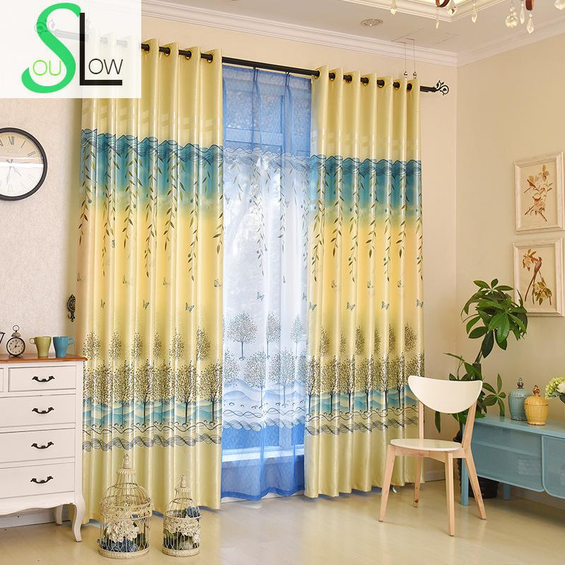 Blue Green Kitchen Curtains: Slow Soul Yellow Blue Green Modern Tree Shade Curtain
