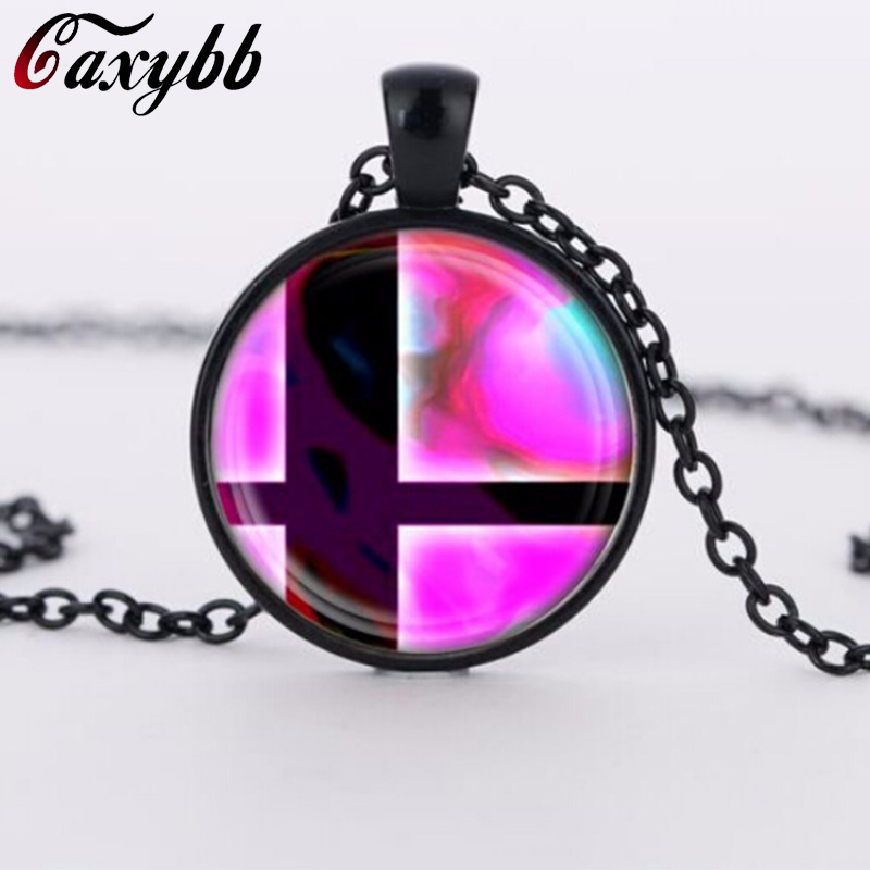 2018 charms necklaces Super Smash Bros Ball Pink and Black Pendant Glass Domechoker pendants Jewelry FTC-N460