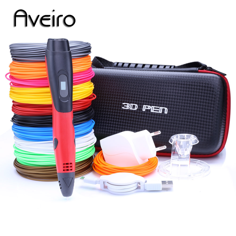 AVEIRO red 3d pens + 10 * 10m pla Filament, 3 d pen 3d model Creative 3d pen toy Best Gift for Kids 3d drawing pen-3d pen new model 3d printer pen drawing 3 d pen with 100 meters 10 color pla filaments printing pens for kid best diy gift