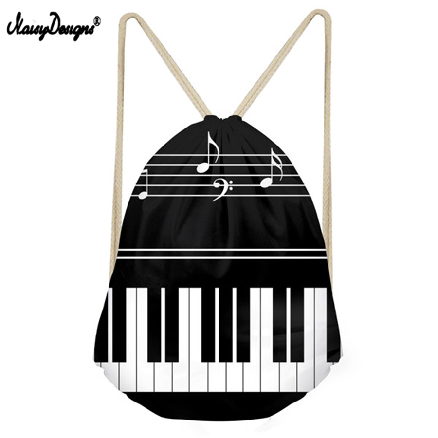 Noisydesigns Casual Men Small Backpack Music Notes with Piano Keyboard Mens Mochila Drawstring Bags for Kids Boys School Bags