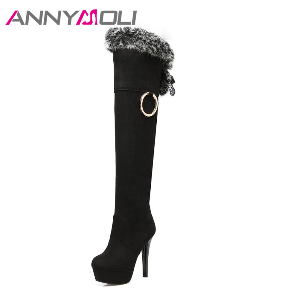ANNYMOLI Winter Shoes Women Boots Platform Extreme High Heels Boots Natural Real Fur Sexy Thigh High Boots 2018 Black Red 34 43