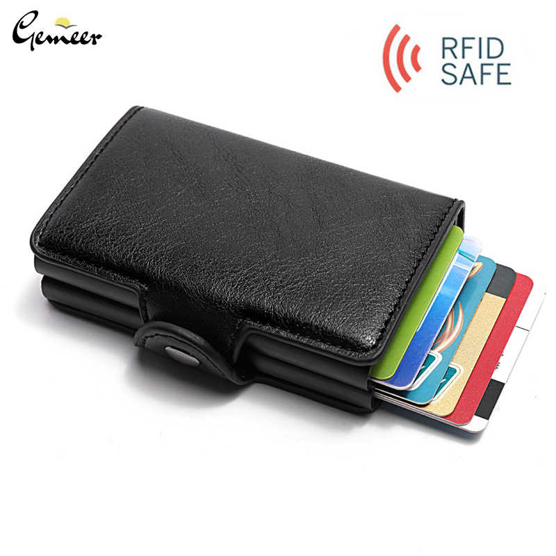 Anti Rfid Protection ID Credit Card Holder Men Women Double Layer Wallet Metal Leather Aluminum Business Bank Credit Card Case