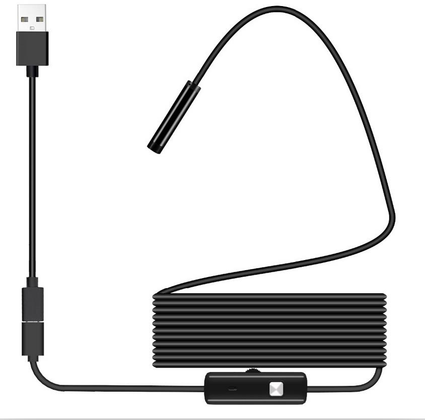 USB Endoscope 1080P IP67 Waterproof HD Borescope Flexible Inspection Snake Camera 6 LED Lights For Android Phone PC Smartphone