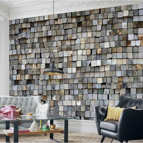 Custom Photo Relief Stereo Personality Retro Wood Wallpaper Mural Bar Room Tv Backdrop