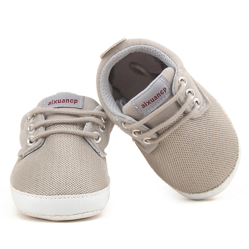 Nyfödda Baby Boy Skor Först Walkers Fjäderhöst Baby Boy Soft Sole Skor Infant Canvas Crib Shoes 0-18 Months