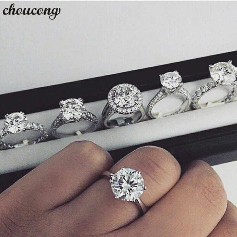 choucong Solitaire Promise Ring 925 Sterling Silver AAAAA cz Engagement Wedding Band Rings set For Women men Statement Jewelry