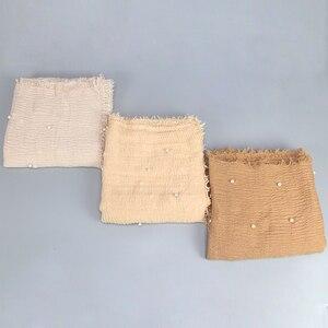 Image 5 - สุภาพสตรีแฟชั่นฟองฝ้ายลูกปัดริ้วรอยผ้าพันคอShawl Plain Crumple Pearl Wrap Foulard PashminaมุสลิมHijab 190*100 ซม.