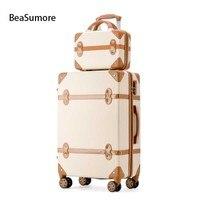 Beasumore 새로운 레트로 롤링 수하물 세트 스피너 여성 여행 가방 가방 바퀴 비밀 번호 트롤리 20 인치 학생 트렁크에 수행