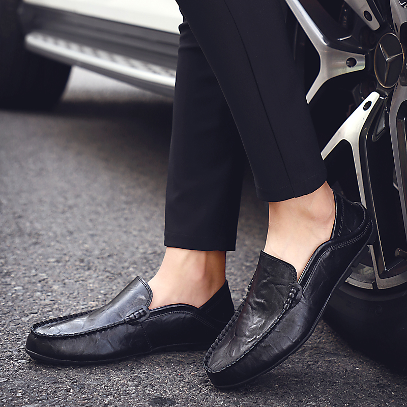 HTB18PEDLzDpK1RjSZFrq6y78VXad Italian Mens Shoes Casual Luxury Brand Summer Men Loafers Genuine Leather Moccasins Light Breathable Slip on Boat Shoes JKPUDUN