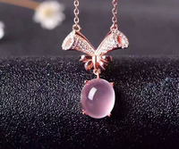 Natural rose quartz Necklace natural pink crystal Pendant Necklace S925 silver Fashion luxurious tree branches women Jewelry