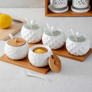 Jars Spoons Sugar-Bowl Salt Condiment-Pot Bird Ceramica Spices Kitchen Home for