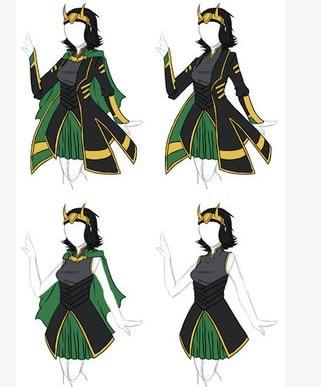 [Customize] Movie The Avengers Thor Loki Female Style Fanart Cosplay costume Battle Uniform Full set New 2017 Halloween Dress