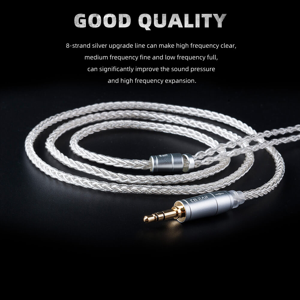 FDBRO 2019 New Hot 8 Core Upgraded Silver Cable 2pin/MMCX/QDC With 2.5/3.5/4.4 Earphone Cable For CCA A10 C10 ZS10 ZST IM2 X6