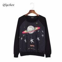 Qlychee Harajuku Saturno Astronaut Felpa Con Stampa Maglioni Felpe Donna Top Plus Size Allentato Casuale Felpe