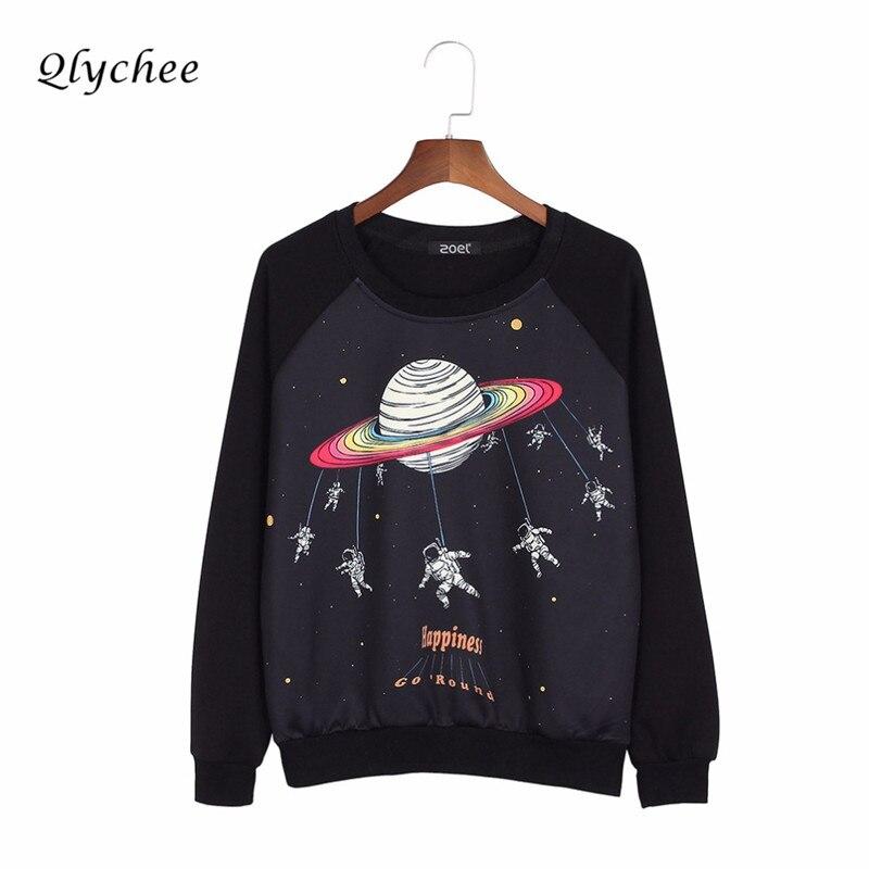 Qlychee Harajuku Saturn Astronaut Print Sweatshirt Pullover Sweatshirts Frauen Tops Plus Größe Lose Beiläufige Sweatshirts