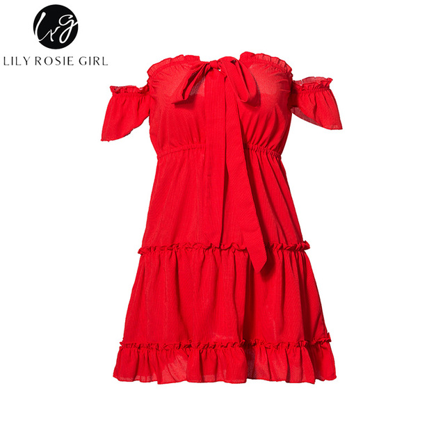 Conmoto Girl Sexy Red Lace Up Off Shoulder Short Sleeve Women Mini Dress Summer Beach Backless Vestidos Party Dresses