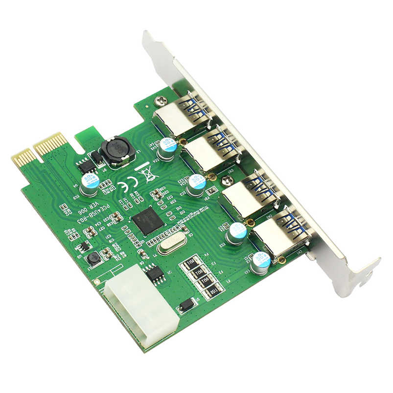 2 / 4 Port SuperSpeed USB 3 0 PCI-E PCI E Express Riser Card Expansion  Adapter USB 3 0 HUB with SATA / 4PIN Power Connector