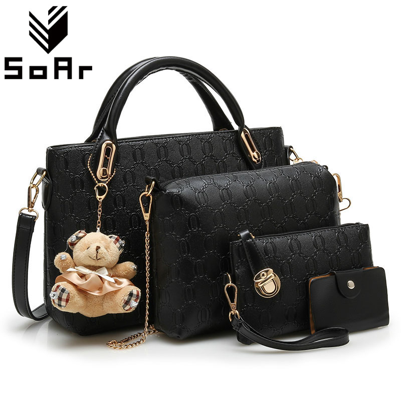 SoAr Composite Bag Women 2017 Fashion Leather Woman Purse And Handbag Famous Designer Brand Chains Shoulder Messenger Bag Doll 4sets herringbone women leather messenger composite bags ladies designer handbag famous brands fashion bag for women bolsos cp03