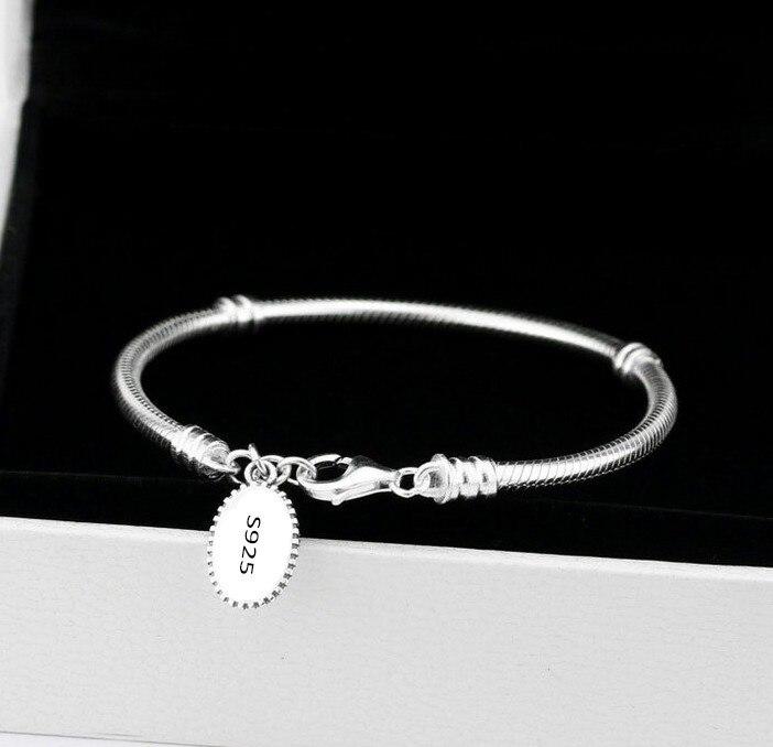 100% Аутентичные стерлингового серебра 925 с Подвески змея цепи Европейский Сердце Любовь Шарм браслет ювелирные изделия для подарка Бесплатн...