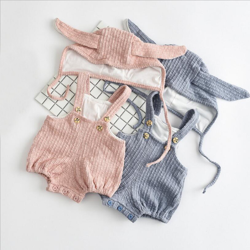 2017 Baby Girl Clothes grey/pink Cotton Rompers +bunny ear hat 2pcs Clothing Sets,infant summer jumpsuit