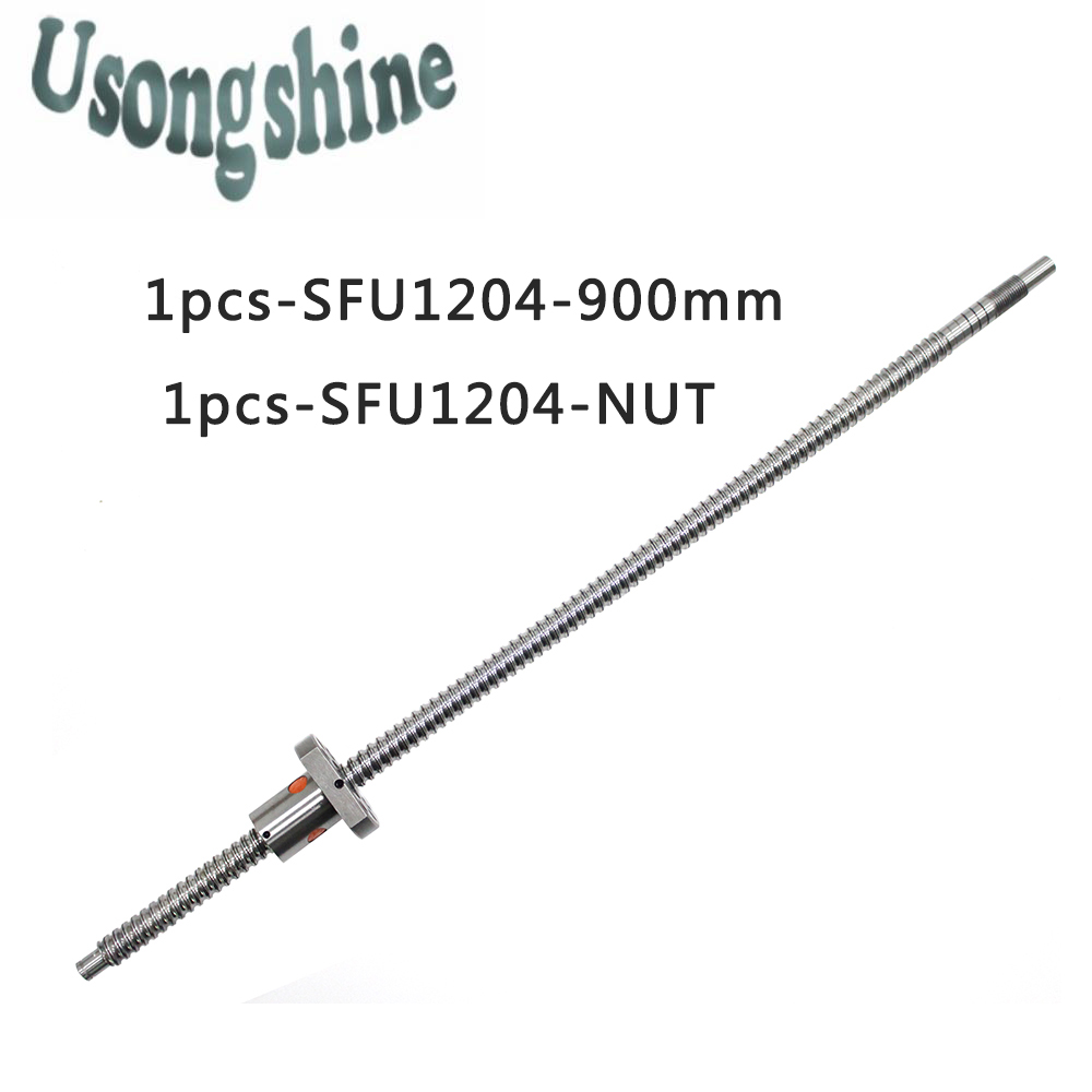 SFU1204 12mm 1204 Ball Screw Rolled C7 ballscrew SFU1204 900mm with one 1204 flange single ball nut for CNC parts end machined