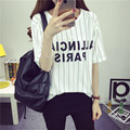 new black and white striped summer dress all-match half sleeve clothes loose short sleeved T-shirt of Korean Students