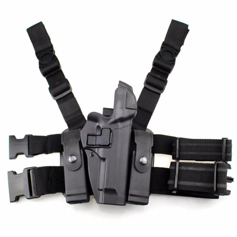 New ! Tactical Beretta M9 92 Gun Holster Quick Drop Leg Holster Right Hand Gun Carry Holster w/ Magazine Pouch Black Tan Color Holsters     - title=