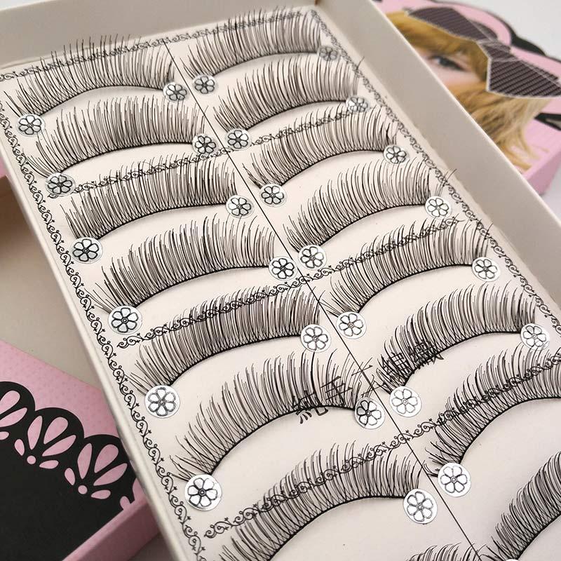 10 pairs Natural False Eyelashes Long Cross Fake Eye Lashes Wispy Eyelashes Makeup Eyelash Extension Beauty False Lashes L06