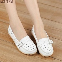 AGUTZM 2018 spring women genuine leather ballet flats casual shoes round toe flats slip on loafers casual flats boat shoes V43 цены онлайн