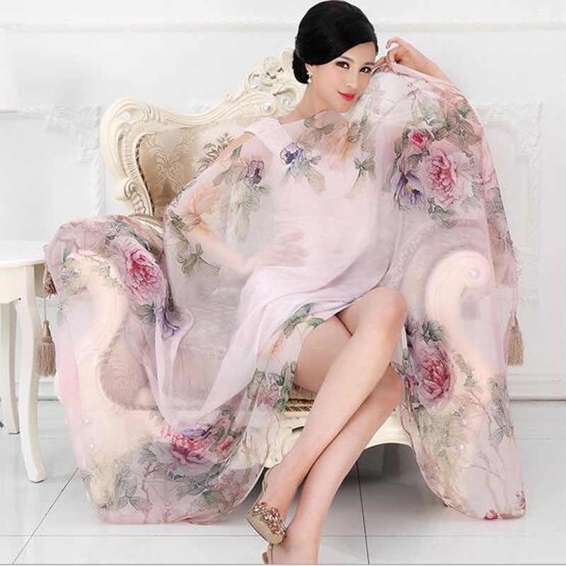 2019 di Alta qualità 100% sciarpa di seta di gelso naturale di seta reale Delle Donne Lunghe sciarpe Scialle Femminile hijab dell'involucro Della Spiaggia di Estate -ups