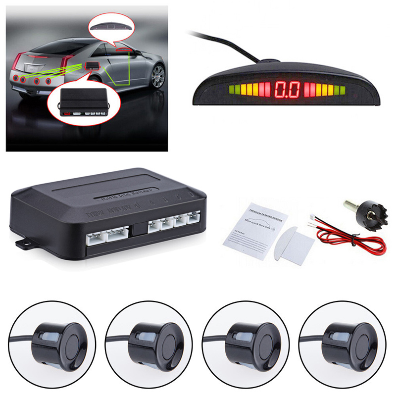 Car Parktronic LED Parking Sensor With 4 Sensors Reverse Backup Car Parking Radar Monitor Detector System Backlight Display