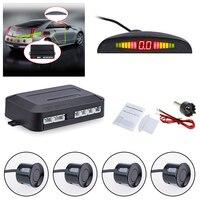 Carro parktronic led sensor de estacionamento com 4 sensores reversa backup estacionamento radar monitor sistema detector retroiluminação exibição|Sensores de estacionamento| |  -